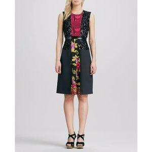Tracy Reese Mixed Media Print Dress Midi